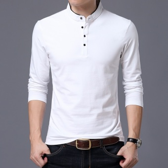 Autumn men's long-sleeved t-shirt (Collar white)