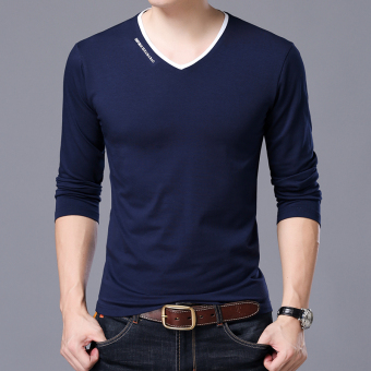 Autumn men's long-sleeved t-shirt (V-neck dark blue)