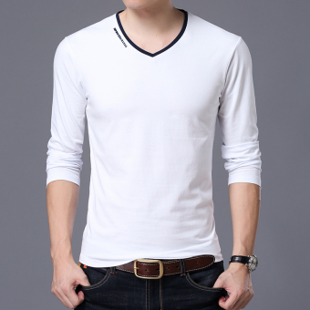 Autumn men's long-sleeved t-shirt (V-neck white)