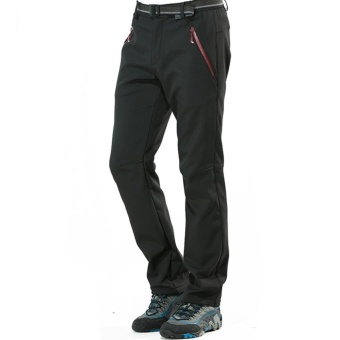 Autumn Men's Thick Thermal Waterproof Windproof Outdoor Hiking Camping Cycling Pants(Black) - intl