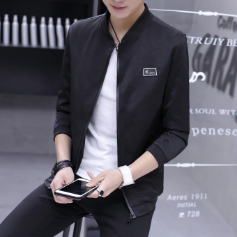 Autumn New style casual jacket Slim fit student baseball clothes men's jacket (1701 black)