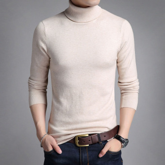 Autumn New style men's long-sleeved t-shirt (Beige)