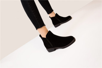 Autumn New style side zip Short Tube Martin boots (Black)