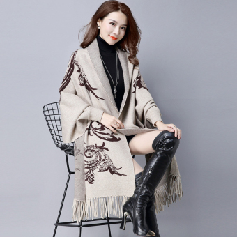 Autumn New style tassled Cape shawl knit cardigan (FXD1606 pattern casual)