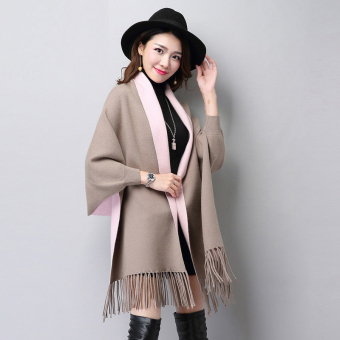 Autumn New style tassled Cape shawl knit cardigan (FXD9888 casual)