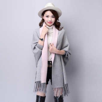 Autumn New style tassled Cape shawl knit cardigan (FXD9888 gray)