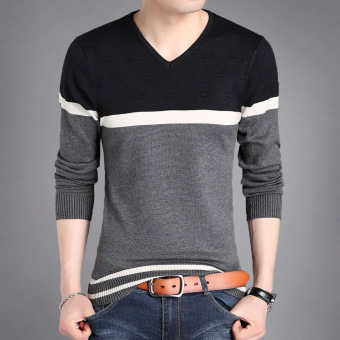 Autumn New style v-neck men's T-shirt (0303 gray)