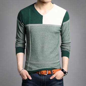 Autumn New style v-neck men's T-shirt (8332 green)