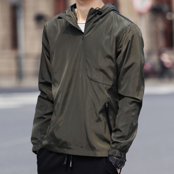 Autumn Teenager hooded zipper jacket men's jacket (A paragraph dark green color)