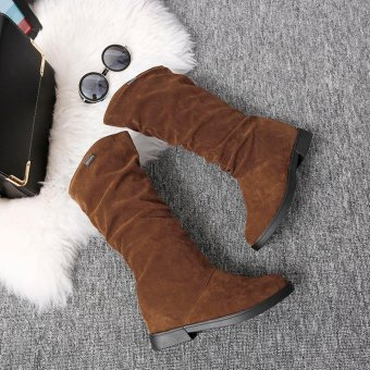 Autumn Winter Boots Women Sweet Boot Stylish Flat Flock Shoes Snow Boots - intl
