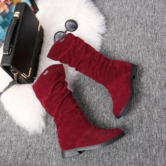 Autumn Winter Boots Women Sweet Boot Stylish Flat Flock Shoes SnowBoots - intl - 5