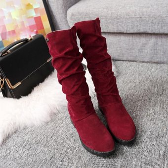 Autumn Winter Boots Women Sweet Boot Stylish Flat Flock Shoes SnowBoots - intl - 3