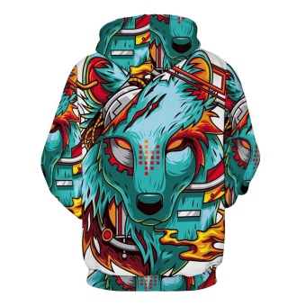 Autumn Winter New Fashion Thin Cap Sweatshirts 3d Print WolfMen/women Hooded Hoodies Casual Hoody Tops - intl - 2