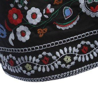 AZULINA Embroidery Skirt Women Cotton Floral High Waist BlackCasual Female Short Spring Summer Vintage Mini Ethnic Boho Skirts -intl - 5