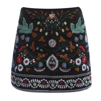 AZULINA Embroidery Skirt Women Cotton Floral High Waist BlackCasual Female Short Spring Summer Vintage Mini Ethnic Boho Skirts -intl - 4