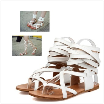 B-Panda Women Under Knee High Gladiator Lace Up Thong Sandals 2Ways To Wear (Beige) - intl