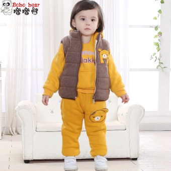 Baby cotton boy's children's thick hoodie (Brown)