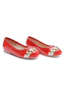 Baby Fashionista Ballerina Flat Patent Sandals with Studs (Red) - picture 2