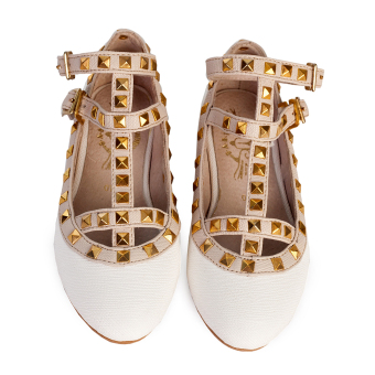Baby Fashionista Valentino-Inspired Rockstud Cage Shoes for Kids(White/Beige)
