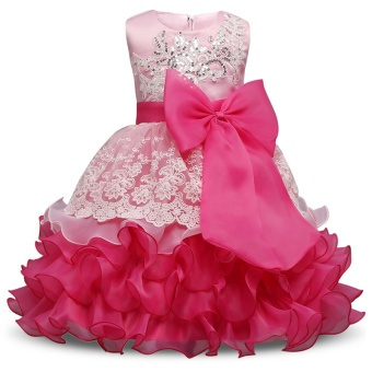 Baby Girl Dress Children Kids Dresses For Girls 3 4 5 6 7 8 Year Birthday Outfits Dresses Girls Evening Party Formal Wear Pink - intl