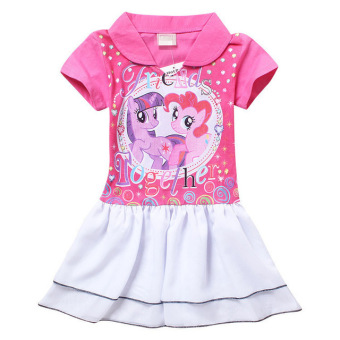 Baby girl Dress kids Casual dress little pony dress 3-8Ysummer(pink) - Intl Price Philippines