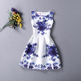 Baby Kids Children's Girl Blue Big Flower Vest Skirt Princess Dress- intl
