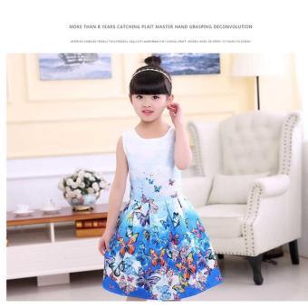 Baby Kids Children's Girl Butterfly Blue Vest Skirt Princess Dress- intl - 3