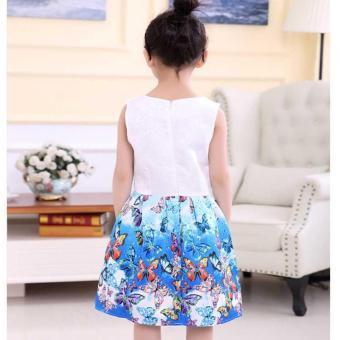 Baby Kids Children's Girl Butterfly Blue Vest Skirt Princess Dress- intl - 4