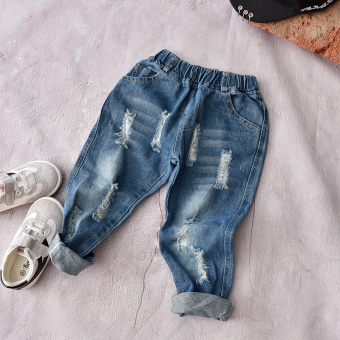 Baby Spring and Autumn girls with holes denim pants children's pants
