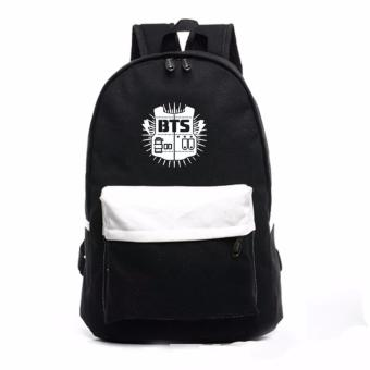 Backpack BTS Canvas School Bag Shoulder Bag Korean Fashion Black -intl