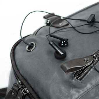 Backpack Sport Travel PU Leather Back Pack Laptop Bag Rucksack120533 (Black)- INTL - 3