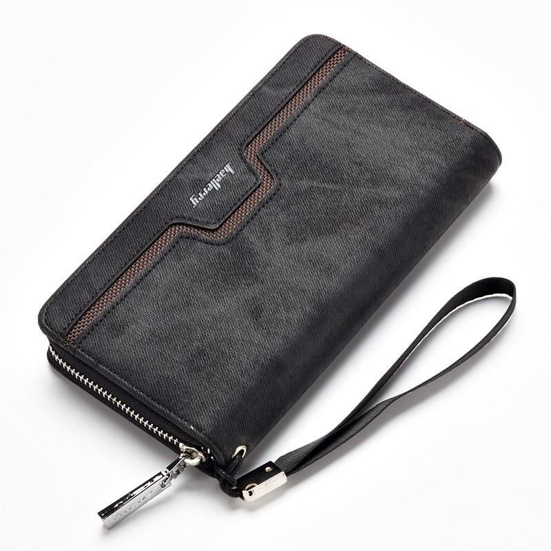 Baellerry Men's Handy Leather Casual Long Swatch Wallet - Brown -intl