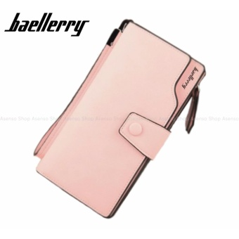 Baellerry Women Fashion Elegant Long Button Wallet Clutch Purse Peach