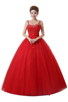 Ball gown straps sleeveless sweepbrush train red wedding dress ball gown straps sleeveless sweepbrush train red wedding dress intl junglespirit Choice Image
