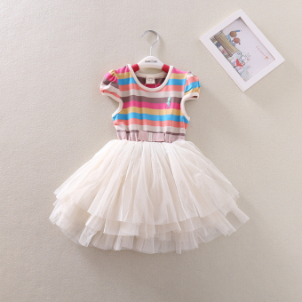 Baobao casual mesh girls striped versatile skirt short sleeved dress