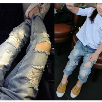 Baobao cool girls Spring and Autumn New style children's jeans