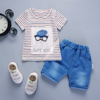 Baobao infants and young boy's summer short sleeved summer (Summer glasses head short sleeved sets [dark blue])