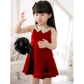 Baobao summer children's sleeveless vest skirt dress (Red)