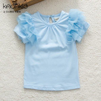 Baobao sweet gauze summer children's princess Top T-shirt (Lake Blue)
