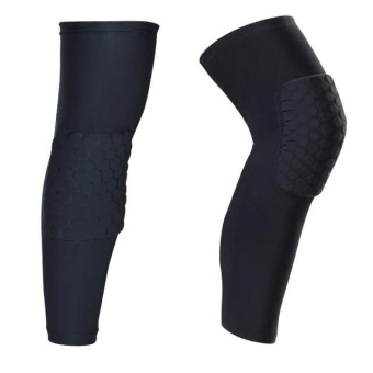 Basketball Knee Pads Football Brace Support Leg Sleeve Knee Protector Compression Knee Protection Sport Safety (Black) - intl
