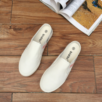 BayMini canvas flat women's shoes cloth shoes (White)