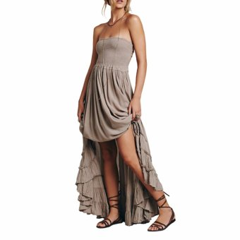 Beach dress sexy dresses boho bohemian people Holiday summer longbackless cotton women party hippie chic vestidos mujer(Grey) - intl