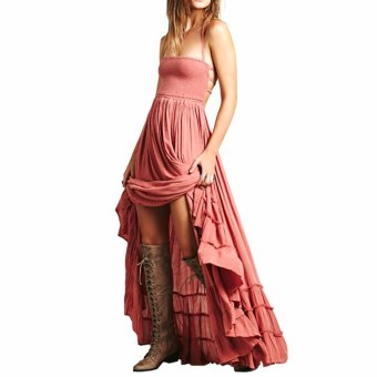 Beach dress sexy dresses boho bohemian people Holiday summer longbackless cotton women party hippie chic vestidos mujer(Pink) - intl