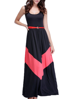 Beach Long Sleeveless Dress With Belt (Black)