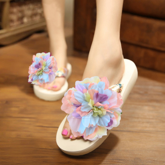 Beach Love Bohemian handmade with flower slippers (Women's + Beige bottom colorful flower)