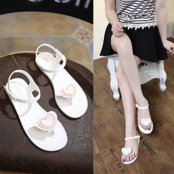 Beach plastic open toed Plus-sized slippers flat sandals (White)