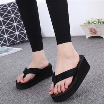 beach shoes female high-heeled with Flip Flops Sandals and slippersFlip Flops Black - Intl