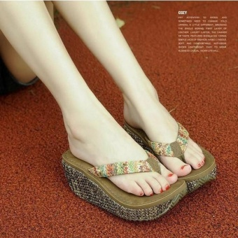 Beach Slippers Women Casual Flip Flops Female Platform Thong FlipFlops Summer Wedge Sandals Shoes Chocolate - intl