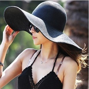 Beach women's Summer Small chili sun hat straw hat (Large brimmed black)