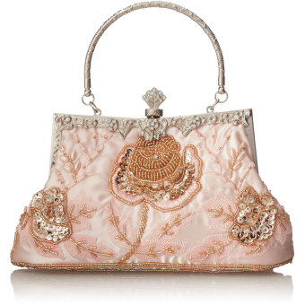 Beaded Rose Evening Women Lady Clutch Bag Champagne